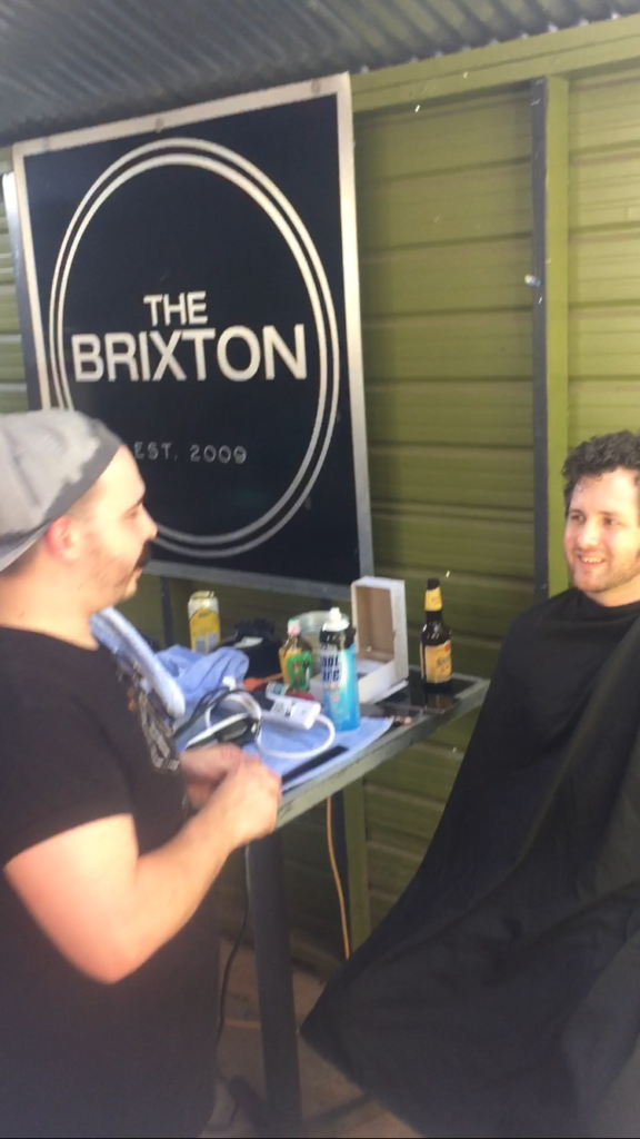 Me being shaven by Adrian Dominguez of Floyd's Barbershop at The Brixton in Austin, TX.